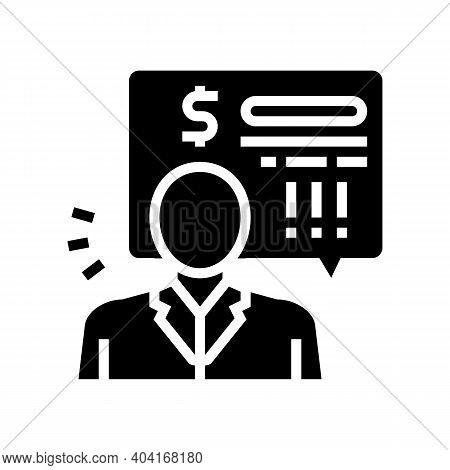Bank Employee Demand Money For Pay Loan Glyph Icon Vector. Bank Employee Demand Money For Pay Loan S