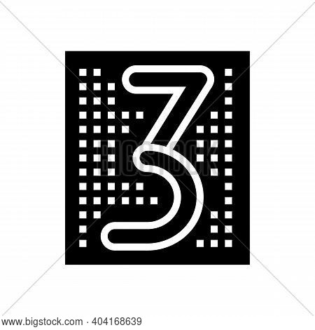 Third Number Glyph Icon Vector. Third Number Sign. Isolated Contour Symbol Black Illustration