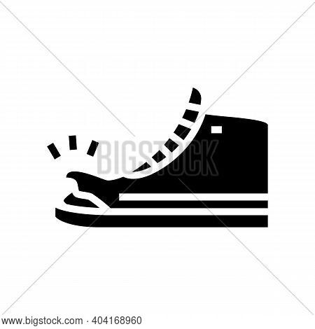 Torn Shoe Glyph Icon Vector. Torn Shoe Sign. Isolated Contour Symbol Black Illustration