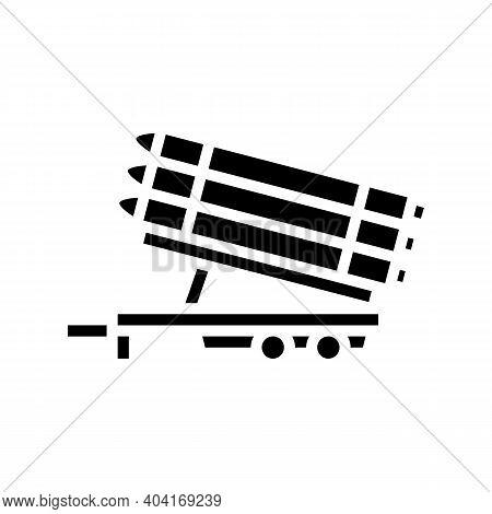 Rockets Transportation Trailer Glyph Icon Vector. Rockets Transportation Trailer Sign. Isolated Cont
