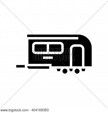 Camper Trailer Glyph Icon Vector. Camper Trailer Sign. Isolated Contour Symbol Black Illustration