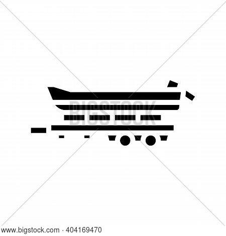 Boat Transportation Trailer Glyph Icon Vector. Boat Transportation Trailer Sign. Isolated Contour Sy