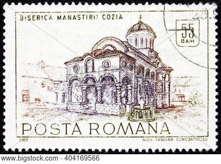Romania - Circa 1968: A Stamp Printed In Romania Shows Cozia Monastery Church, Historic Monument, Ci