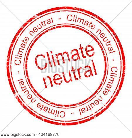 Climate Neutral Rubber Stamp Red - Illustration