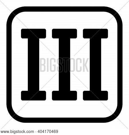 Roman Numeral Three Button On White Background. Vector Illustration.
