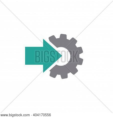 Gear And Green Arrow Icon Isolated On White. Green And Grey Colors. Vector Flat Illustration For Tec
