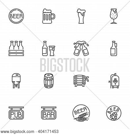 Beer Pub Line Icons Set, Brewery Outline Vector Symbol Collection, Linear Style Pictogram Pack. Sign