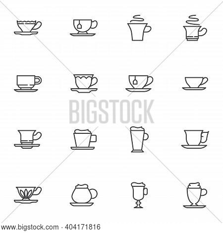 Tea And Coffee Cup Line Icons Set, Outline Vector Symbol Collection, Linear Style Pictogram Pack. Si
