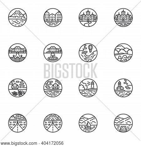Landscape Line Icons Set, Outline Vector Symbol Collection, Linear Style Pictogram Pack. Signs, Logo