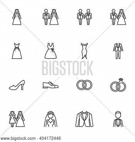 Wedding And Marriage Line Icons Set, Outline Vector Symbol Collection, Linear Style Pictogram Pack.