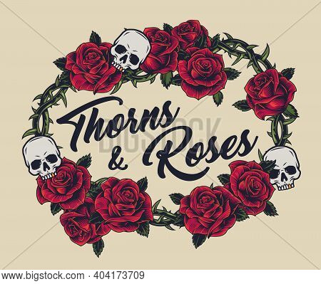 Vintage Concept Of Metal Barbwire Wreath Decorated With Beautiful Red Roses And Skulls On Light Back
