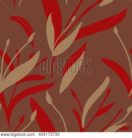 Seamless Pattern With Hand-drawn Red And Beige Plants And Branches On Red Background. Elegant Linen,