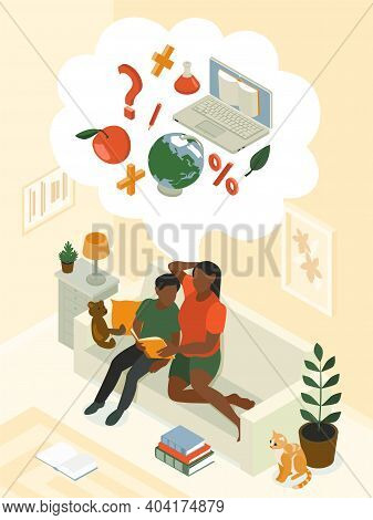 Homeschooling Parent Child Isometric Composition Mother Helping Son Informally On Sofa With Science
