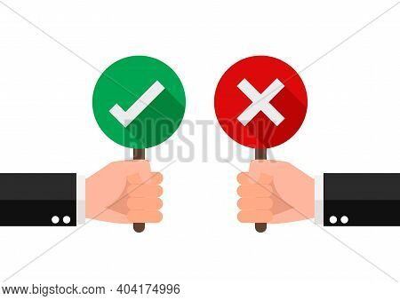Hand Hold Signboard Green Check Mark And Red Cross Mark. Right And Wrong For Feedback. Sign Icon Con