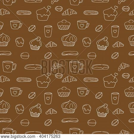 Seamless Pattern Of French Buns And Cakes Vector Illustration Hand Drawing Brown
