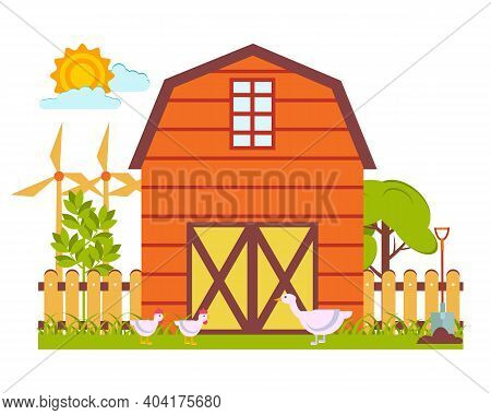 Vector Illustration With A Spring Landscape In The Form Of A Fragment Of A Farm With A Barn, Poultry
