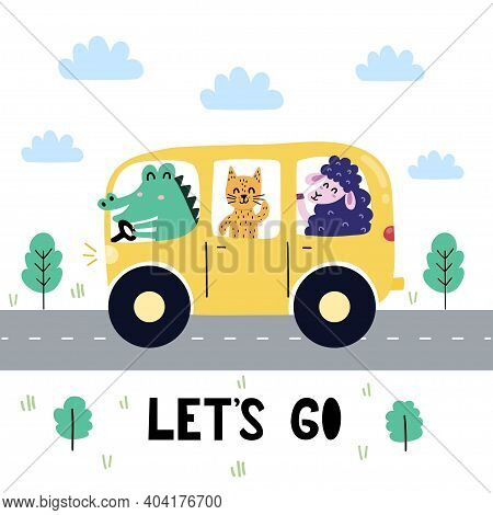 Let S Go Print With Cute Crocodile, Cat And Sheep Driving The Bus. Funny Car Background
