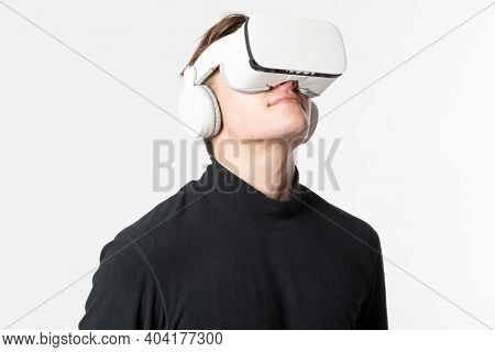 Man in virtual reality glasses smart technology