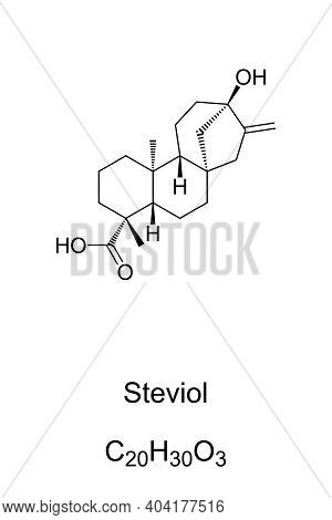 Steviol, Chemical Formula And Skeletal Structure. A Diterpene, First Isolated From The Plant Stevia