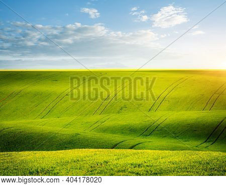View of wavy fields and cultivated land of agricultural area. Location place of Ukrainian agricultural region, Europe. Ecology concept. Agrarian industry. Minimalistic landscape. Beauty of earth.