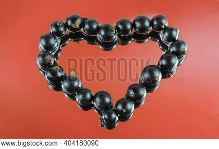 Valentine Card With Heart Black Currant Berries  On  Red Mirror Wet Surface, Reflected In Water.  Sy