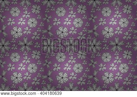 Pano Seamless Raster Floral Pattern With White Doodles Flowers