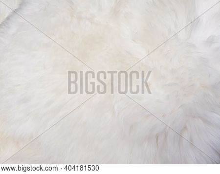 White Wool Texture Background. Faux Fur. Texture Of White Fluffy Fur, Close Up Of A Long Wool Carpet