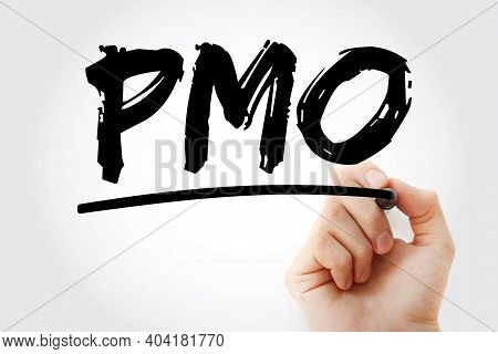 Pmo - Project Management Office Acronym With Marker, Business Concept Background