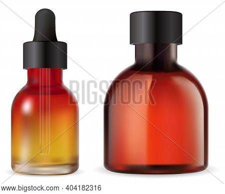 Cosmetic Oil Bottle. Essential Oil Bottles With Dropper Isolated. Brown Serum Vial With Pipette, Med