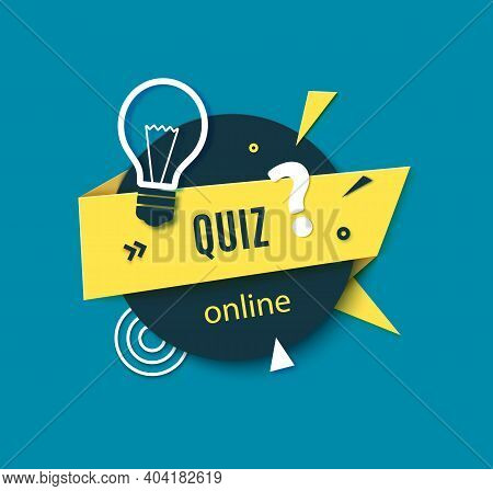 Quiz Online Label In Paper Cut Style. Layout Banner With Dark Circle And Yellow Folded Strip Of Card
