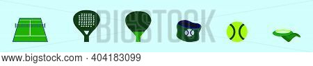 Set Of Tennis Cartoon Icon Design Template With Various Models. Modern Vector Illustration Isolated