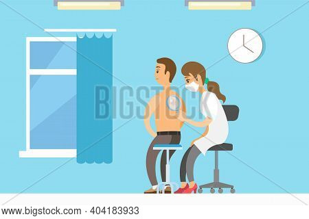 Dermatologist Female Character Examining A Mole From A Male Patient With Magnifying Glass In Clinic.