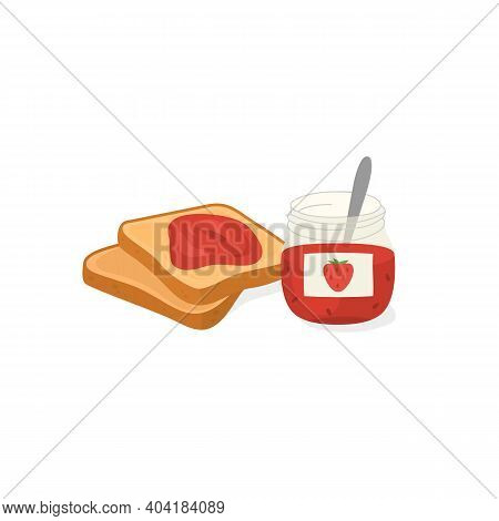 Bread Toasts And Strawberry Jam. Tasty And Sweet Breakfast. Vector
