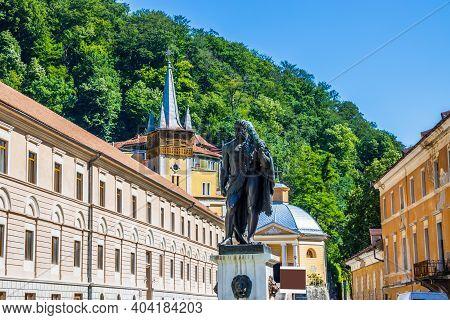 Baile Herculane, Romania. Hercules Statue In The Spa Town.