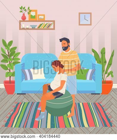 Birth Position Pose For Pregnant Woman, Female Sitting At Fitball, Husband Help Wife To Relax Making