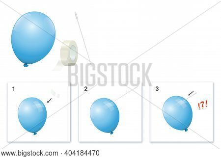 Experiment With Balloon, Adhesive Strips And Needle, That Does Not Burst The Balloon When Stinging I