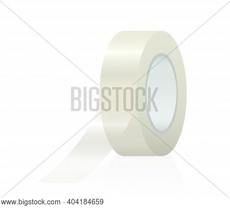 Adhesive Tape With Unrolled Adhesive Strip. Isolated Vector Illustration On White Background.