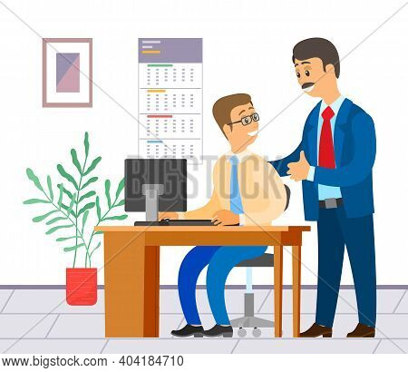Businesspeople Communicating, Two Talking Colleagues In Office, Man With Computer Sitting At Table,