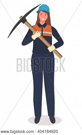 Woman Miner With Pickaxe, Coal Mining, Hard Work, Worker In Protective Helmet, Suit, Not Female Work
