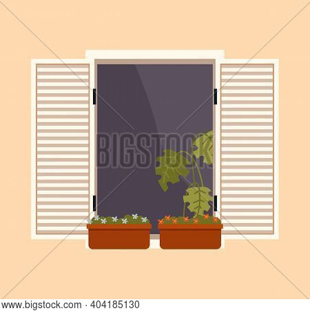 Balcony With Furniture And Flowerpots. Large Window With Open Shutters Vector Illustration. Window O