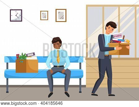 Layoff Concept. Boss Dismissed Employee. Unhappy Fired Men Leave The Office With Things In Boxes. Un