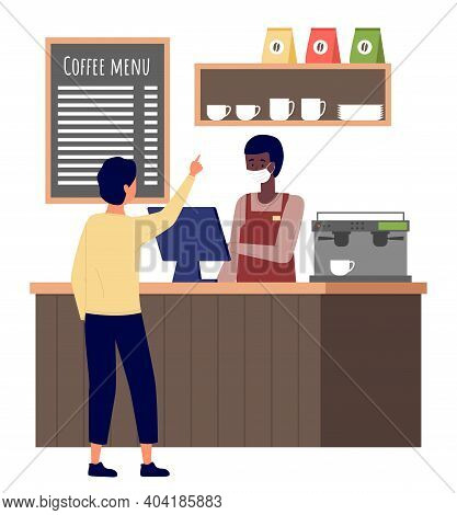 Man Choose Cakes And Buy Coffee At Bakery Shop Or Cafe. Male Barista Seller In Face Mask In Bakery I