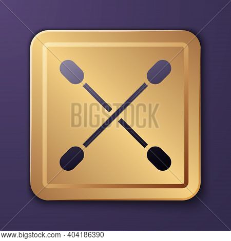 Purple Cotton Swab For Ears Icon Isolated On Purple Background. Gold Square Button. Vector Illustrat