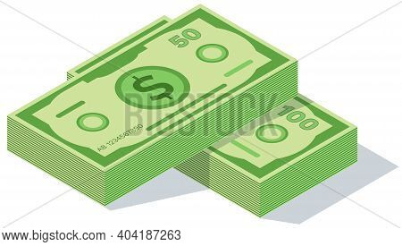 Concept Of Big Money. Big Pile Of Cash. Hundreds Of Dollars. Dollar Banknote For Clip Art Vector Ill