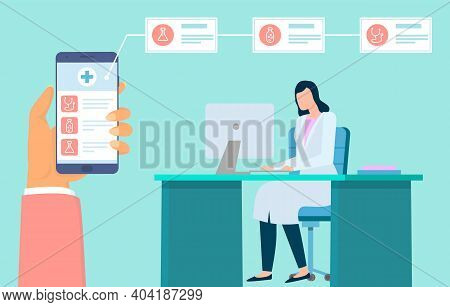 Online Consultation With Doctor. Hand Holding Phone With Medical App. Remote Medical Consultation. V