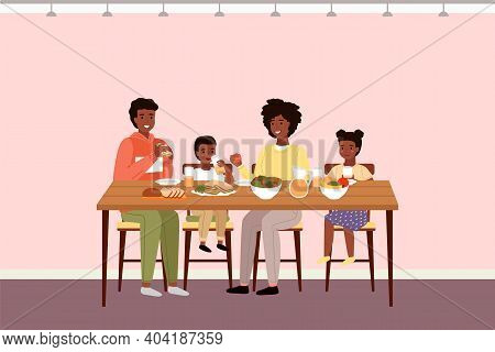 Afro American People Having Dinner In Dining Room. Afroamerican Family Dines With Healthy Food. Rela