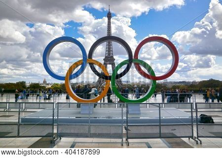 Paris, France - September 15 2017: Olympic Rings Installed On The Esplanade Of Trocadero To Commemor