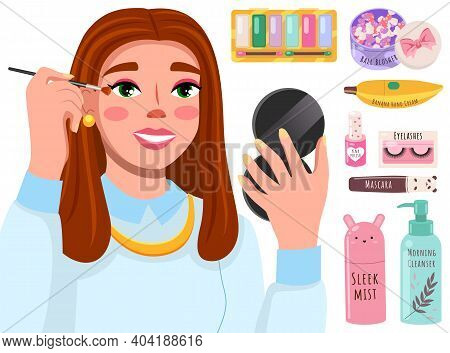 Beautiful Girl Makes Look And Does Makeup Looks After Beauty And Paints Eyes On White Background. Ma