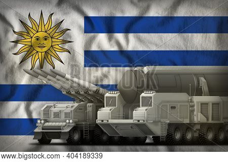 Rocket Forces On The Uruguay Flag Background. Uruguay Rocket Forces Concept. 3d Illustration