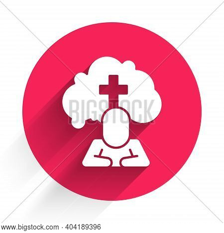 White Man Graves Funeral Sorrow Icon Isolated With Long Shadow. The Emotion Of Grief, Sadness, Sorro